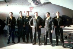 L-R: Al Pearson, Neil Pollock, Nev Duus (navs) - Graham, Brian Hammond and Bob Howard (pilots), The 'Canberra Black' RAAF Jubilee Canberra display team for the RAAF's Golden Jubileee in 1971.